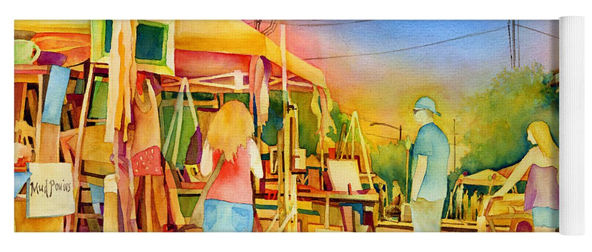 Downtown Bryan Yoga Mat featuring the painting Street Art Fair by Hailey E Herrera