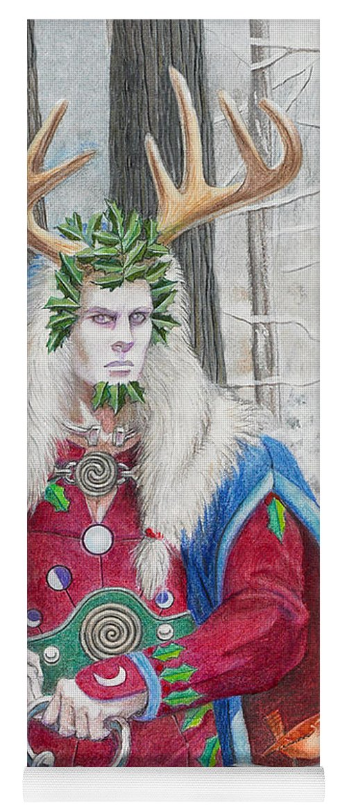 Pagan Yoga Mat featuring the painting The Holly King by Melissa A Benson