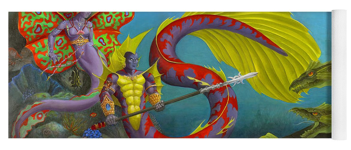 Mermaid Yoga Mat featuring the painting The Threat by Melissa A Benson
