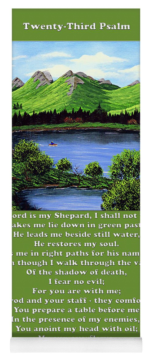 Twenty Third Psalm Yoga Mat featuring the painting Twin Ponds And 23 Psalm On Green by Barbara Griffin