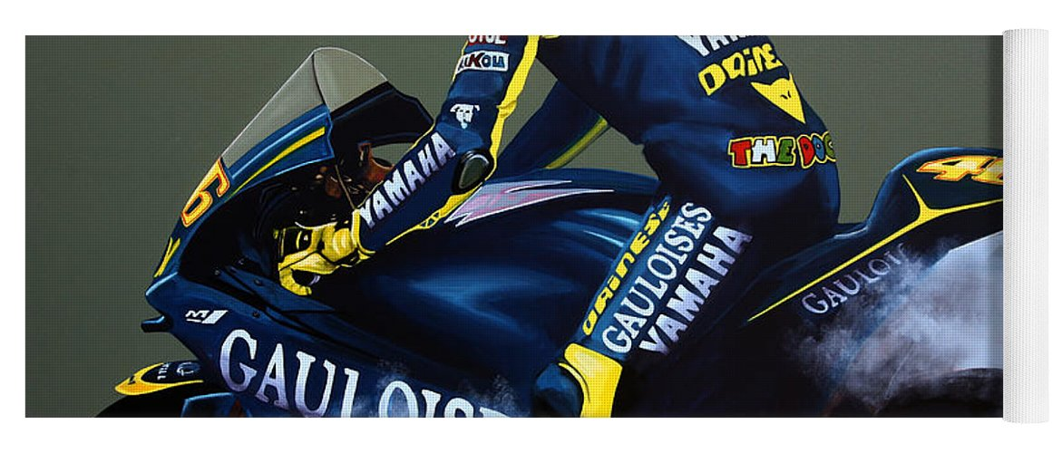 303b23674 Valentino Rossi Yoga Mat featuring the painting Valentino Rossi by Paul  Meijering