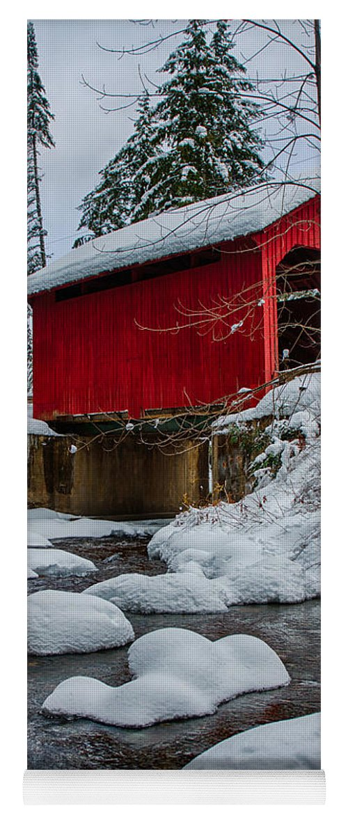 Covered Bridge Yoga Mat featuring the photograph Vermonts Moseley Covered Bridge by Jeff Folger