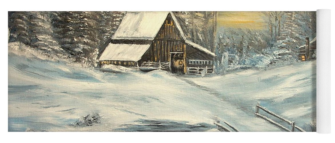 Winter Yoga Mat featuring the painting Winter by Kenneth LePoidevin