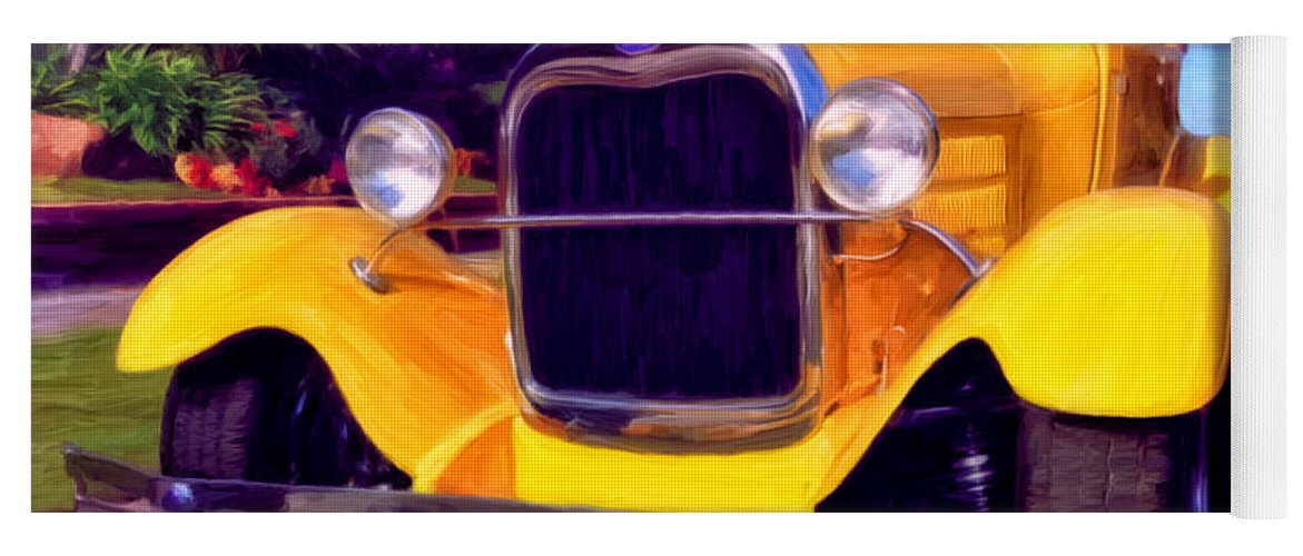 Resto Mod Yoga Mat featuring the painting '28 Ford Pick Up by Michael Pickett