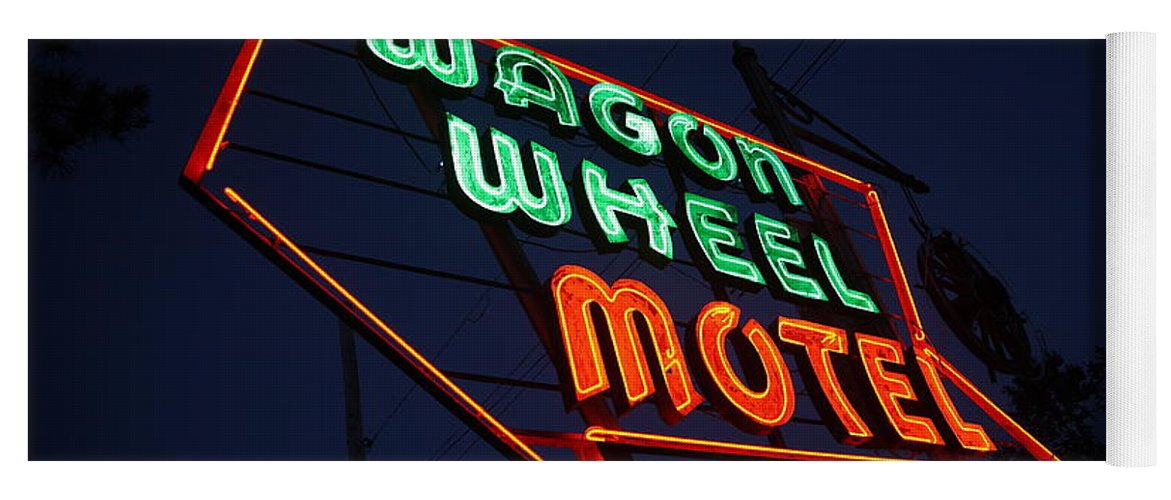 66 Yoga Mat featuring the photograph Route 66 - Wagon Wheel Motel by Frank Romeo