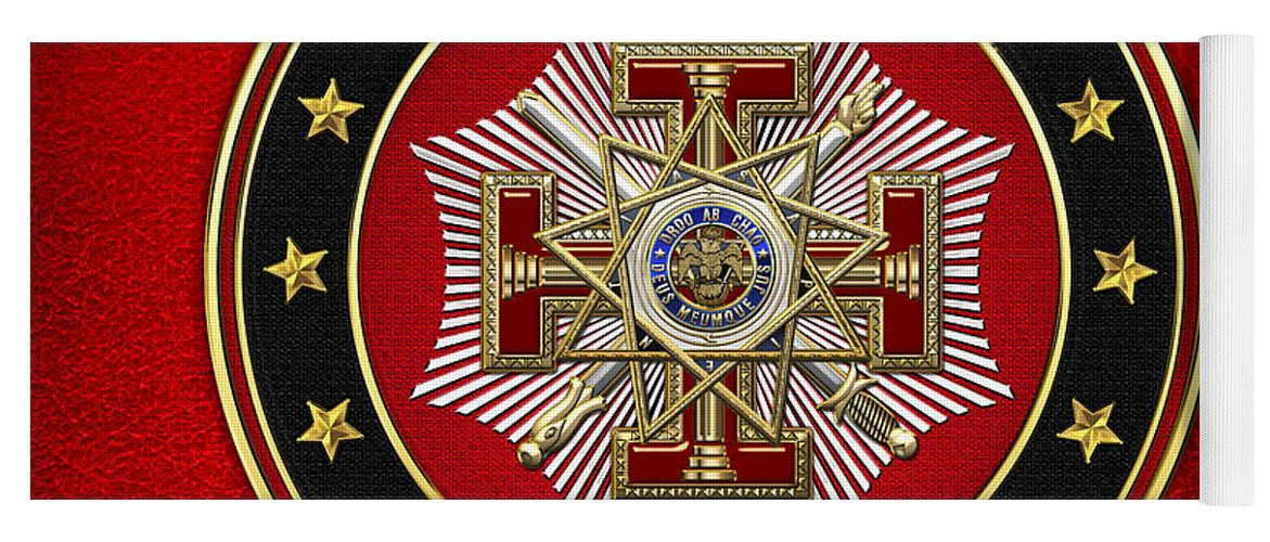'scottish Rite' Collection By Serge Averbukh Yoga Mat featuring the digital art 33rd Degree - Inspector General Jewel On Red Leather by Serge Averbukh