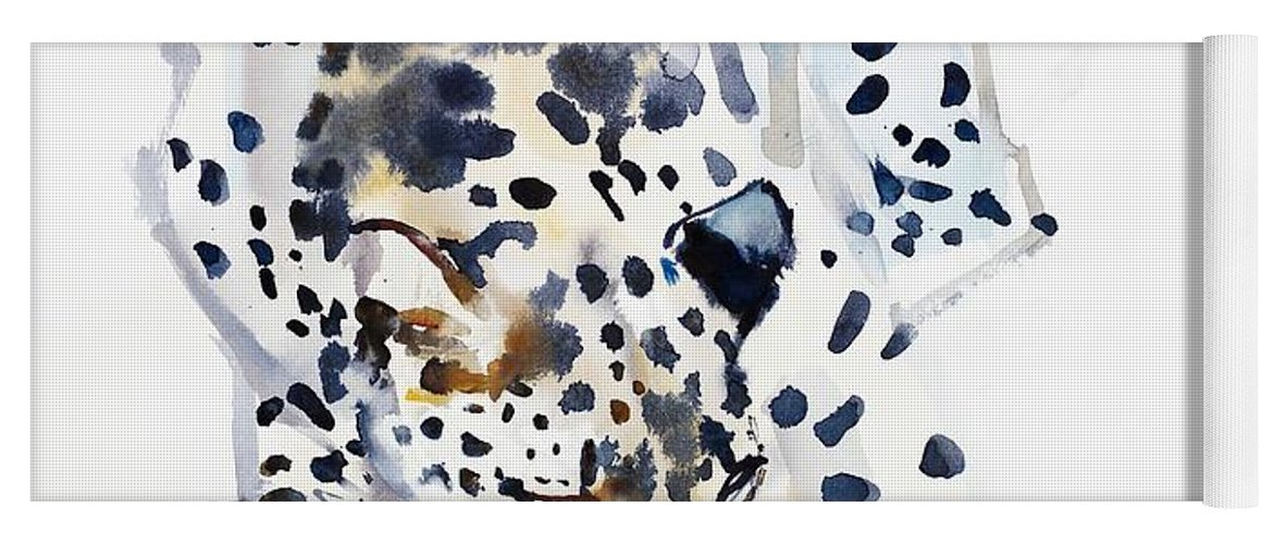 Spotty; Stalking; Arabian Leopard;wild Animal;big Cat;spotted;spots;panthera Pardus Nimr; Head; Paws; Face; Cat; Watercolor; Watercolor On Paper; Work On Paper; Mark Adlington; Adlington; Mark Adlington; Hunting; Sniffing; Preying; Prey; Yoga Mat featuring the painting Arabian Leopard by Mark Adlington