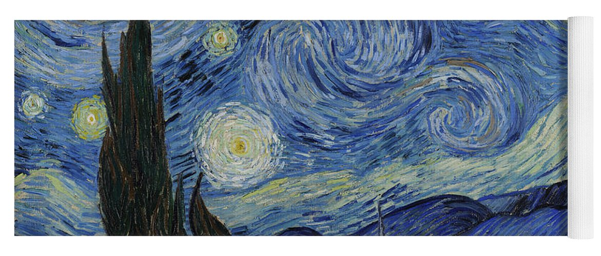 1889 Yoga Mat featuring the painting The Starry Night by Vincent van Gogh