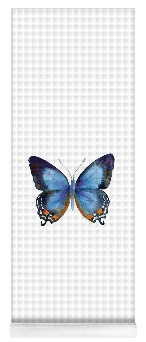 Imperial Blue Butterfly Yoga Mat featuring the painting 80 Imperial Blue Butterfly by Amy Kirkpatrick