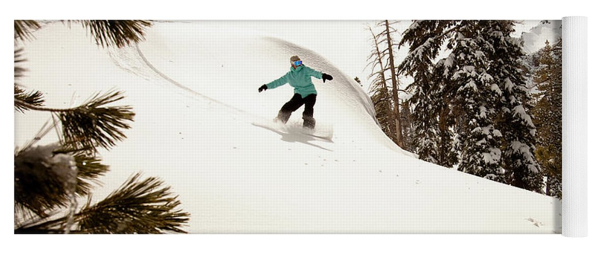 California Yoga Mat featuring the photograph A Female Snowboarder Lays Out Some by Kyle Sparks