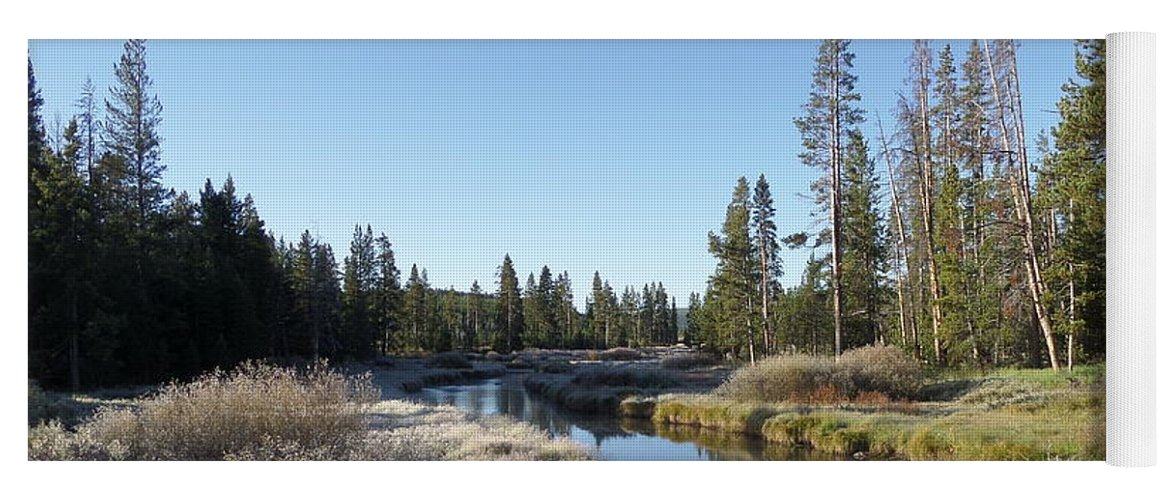 Blue Yoga Mat featuring the photograph A Frosty Morning Along Obsidian Creek by Frank Madia