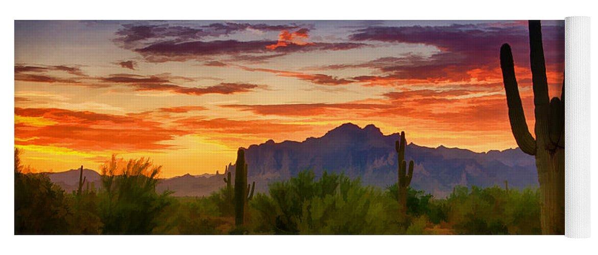 Sunrise Yoga Mat featuring the photograph A Painted Desert by Saija Lehtonen