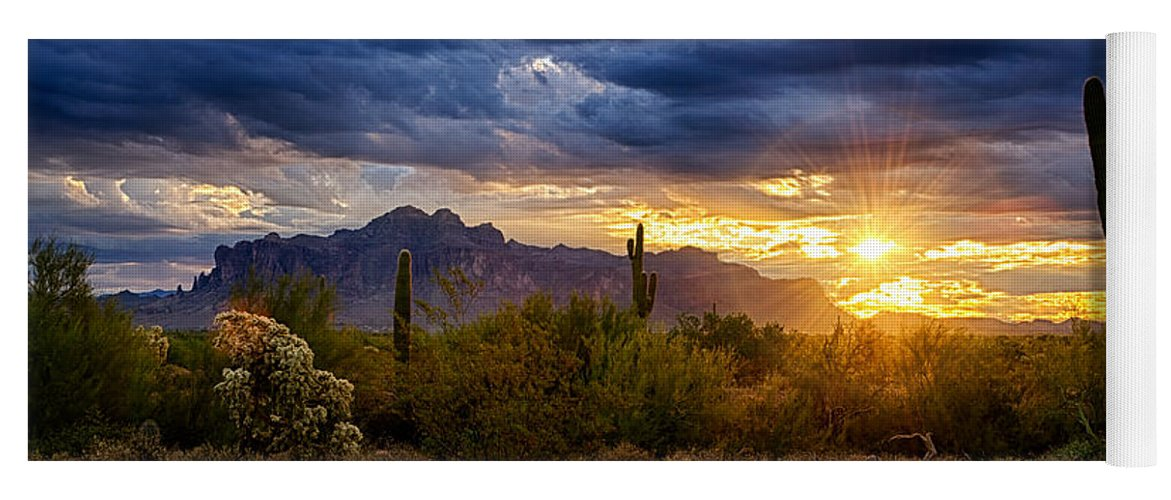 Sunrise Yoga Mat featuring the photograph A Sonoran Desert Sunrise by Saija Lehtonen