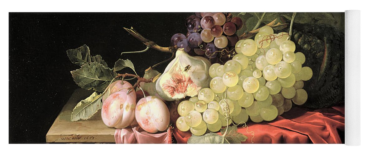 Fruit Yoga Mat featuring the photograph A Still Life With Grapes, Plums, Figs And A Melon On A Partly Draped Stone Ledge, 1653 Oil On Canvas by Willem van Aelst