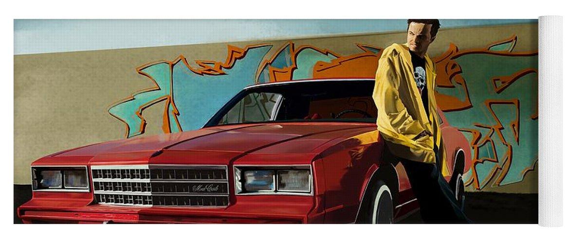 Aaron Paul Yoga Mat featuring the digital art Aaron Paul as Jesse Pinkman @ TV serie Breaking Bad by Gabriel T Toro