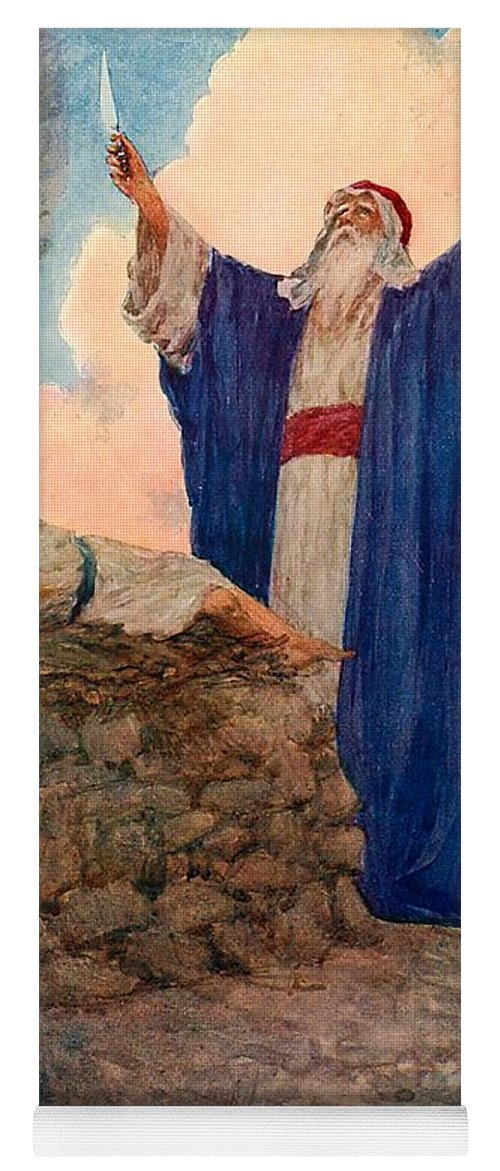 Bible; Abraham; Isaac; Mount Moriah; Sacrifice Yoga Mat featuring the painting Abraham And Isaac On Mount Moriah by William Henry Margetson