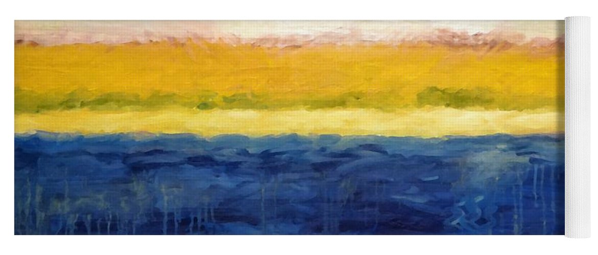 Abstract Landscape Yoga Mat featuring the painting Abstract Dunes With Blue And Gold by Michelle Calkins