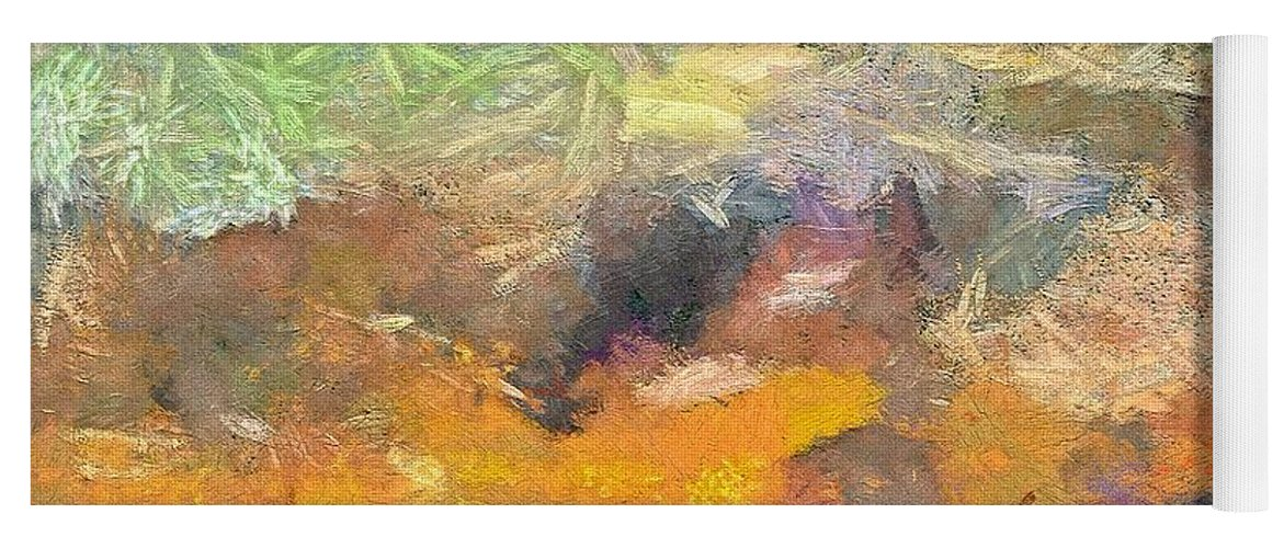 Abstract Art Yoga Mat featuring the painting Abstract Landscape II by Dragica Micki Fortuna