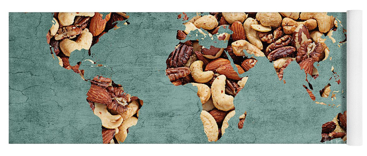 Abstract world map mixed nuts snack nut hut yoga mat for sale abstract yoga mat featuring the digital art abstract world map mixed nuts snack gumiabroncs Gallery