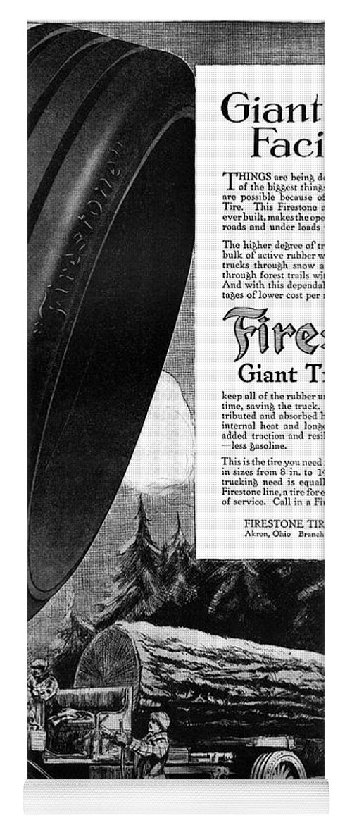 1918 Yoga Mat featuring the painting Ad Firestone, 1918 by Granger