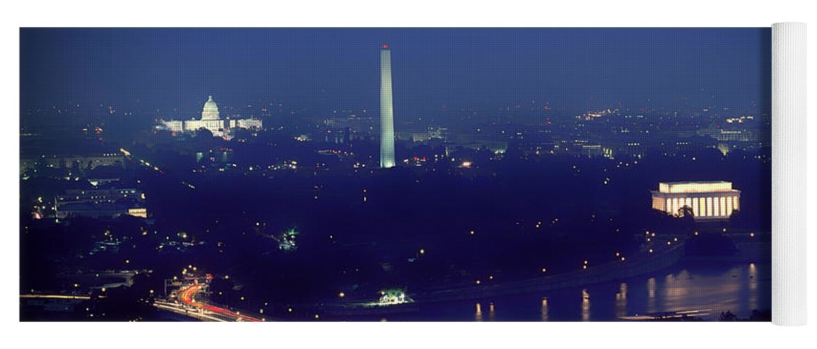 Aerial Night View Of Washington Dc Yoga Mat For Sale By Mountain Dreams