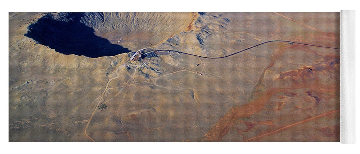Science Yoga Mat featuring the photograph Aerial Of Meteor Crater by Adam Sylvester