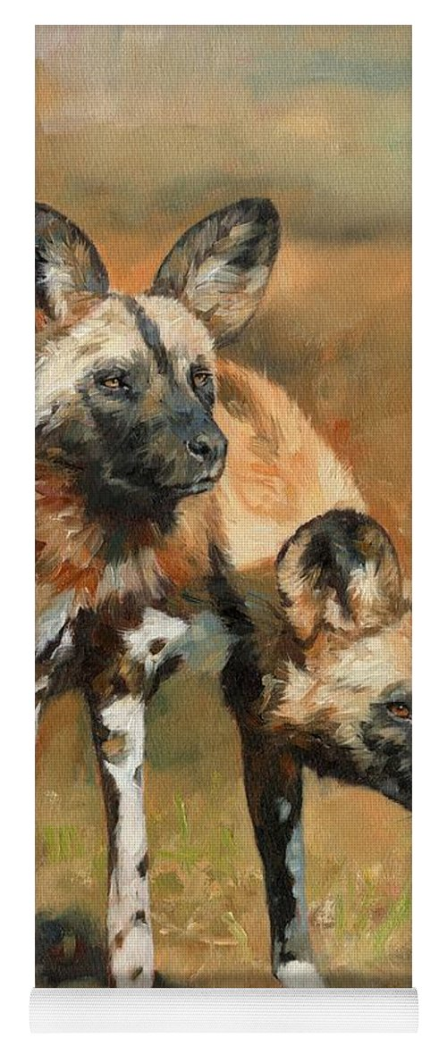 Wild Dogs Yoga Mat featuring the painting African Wild Dogs by David Stribbling