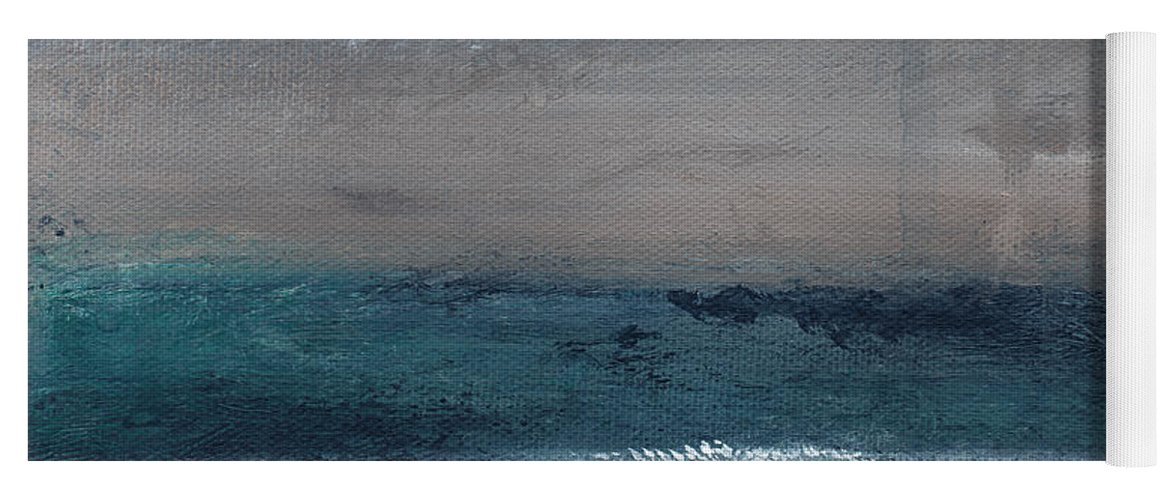 Abstract Landscape Yoga Mat featuring the painting After The Storm- Abstract Beach Landscape by Linda Woods