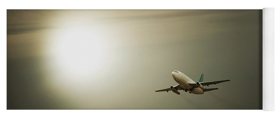 Across Yoga Mat featuring the photograph Airplane by Darren Greenwood