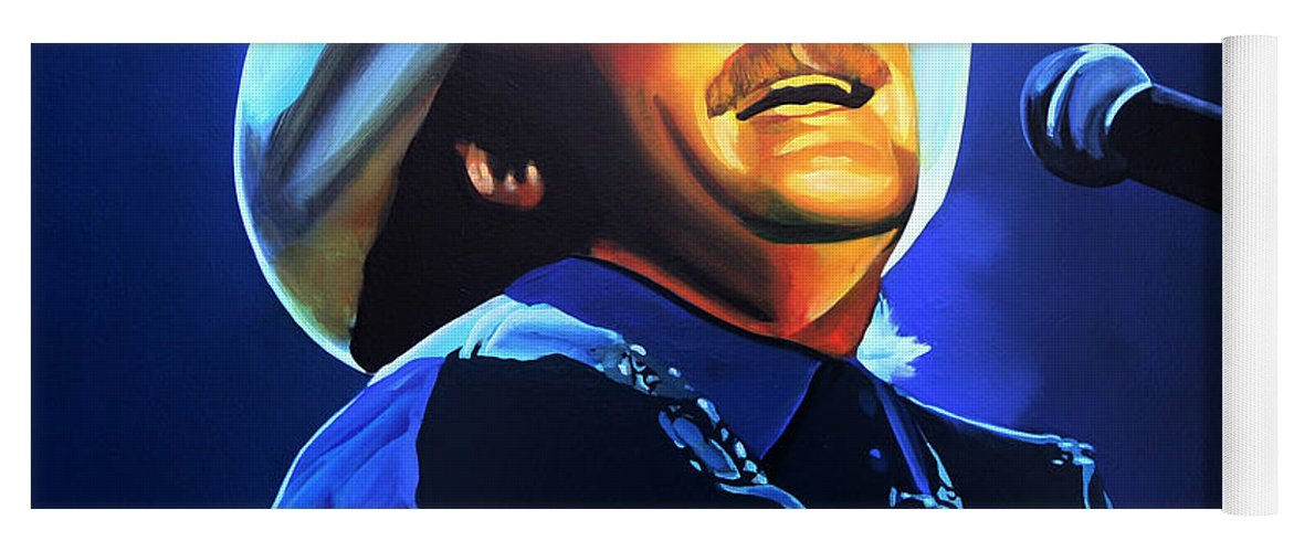 Alan Jackson Yoga Mat featuring the painting Alan Jackson Painting by Paul Meijering