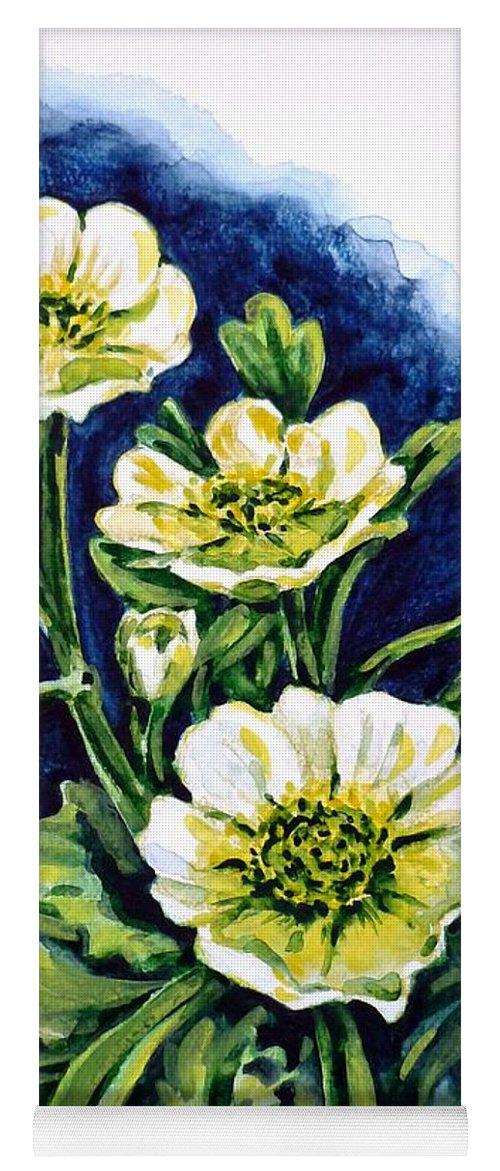Alpine Ranunculus Yoga Mat featuring the painting Alpine Ranunculus by Zaira Dzhaubaeva