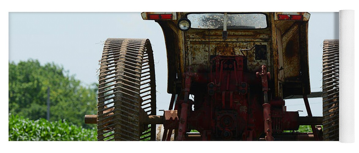Amish Yoga Mat featuring the photograph Amish Tractor by Cindy Manero