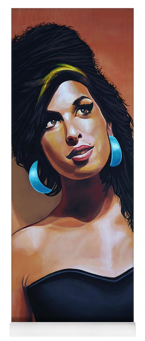 Amy Winehouse Yoga Mat featuring the painting Amy Winehouse by Paul Meijering