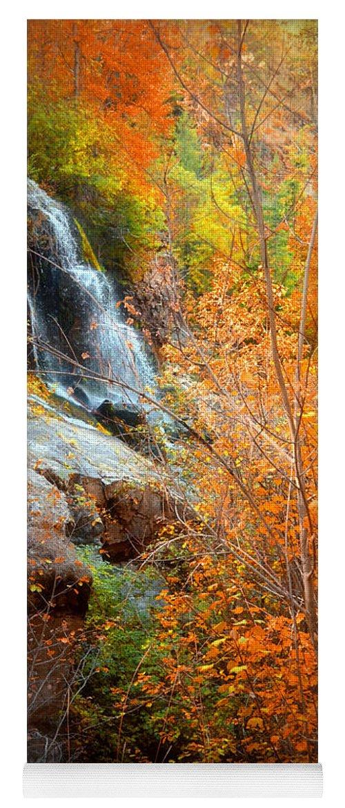 Autumn Yoga Mat featuring the photograph An Autumn Falls by Tara Turner