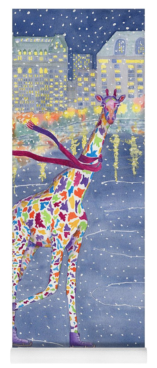 Giraffe Yoga Mat featuring the painting Annabelle On Ice by Rhonda Leonard
