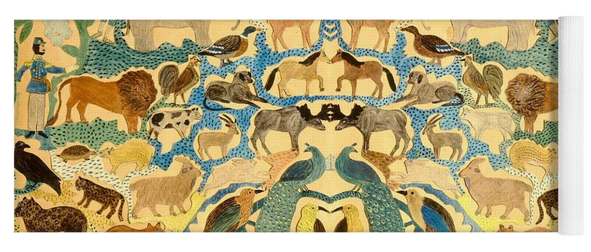 Elephant; Butterfly; Bird; Camel; Lion; Giraffe; Horse; Bear; Dog; Zebra; Deer; Leopard; Garden; Eden; Group; Cat; Fox Yoga Mat featuring the painting Antique Cutout Of Animals by American School