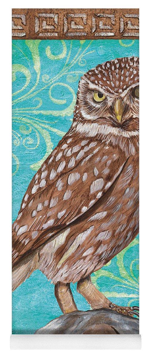 Owl Yoga Mat featuring the painting Aqua Barn Owl by Debbie DeWitt