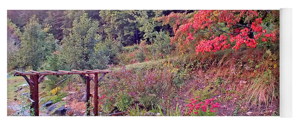 Duane Mccullough Yoga Mat featuring the photograph Arbor And Fall Colors by Duane McCullough