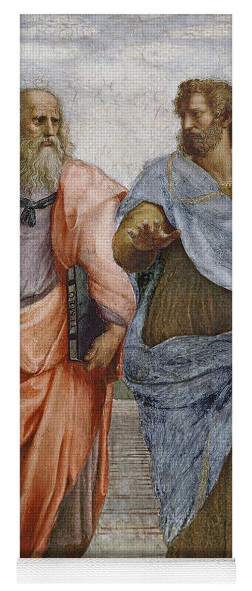 Iconic Yoga Mat featuring the painting Aristotle And Plato Detail Of School Of Athens by Raffaello Sanzio of Urbino
