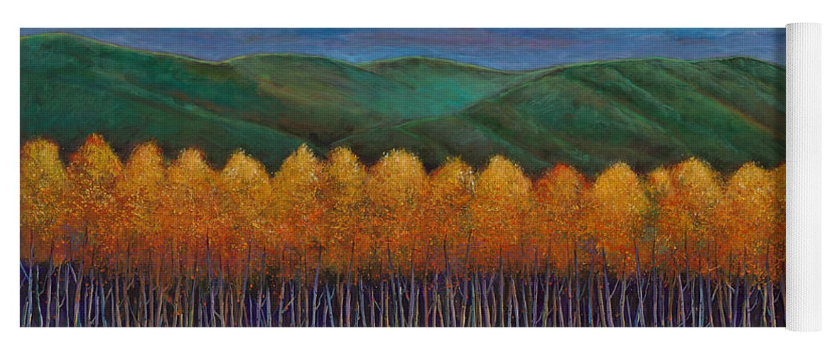 Autumn Aspen Yoga Mat featuring the painting Aspen Perspective by Johnathan Harris