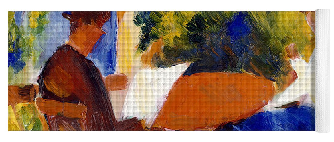 At The Garden Table Yoga Mat featuring the painting At The Garden Table by August Macke