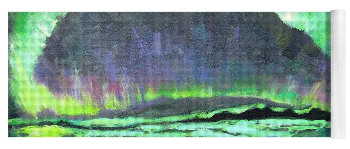 Aurora Borealis Yoga Mat featuring the painting Aurora Borealis by Laurie Morgan