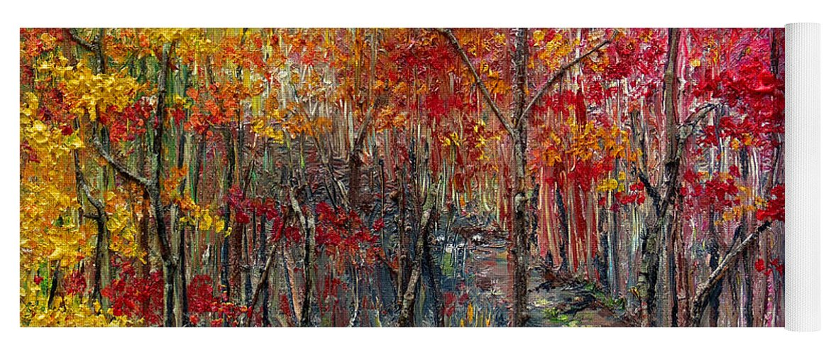 Autumn Yoga Mat featuring the painting Autumn In The Woods by Karin Dawn Kelshall- Best