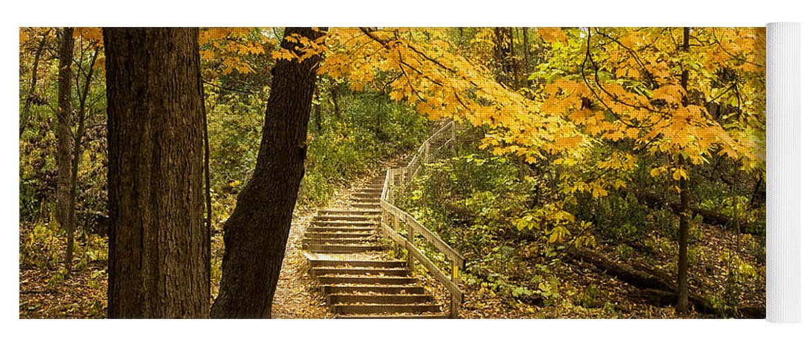 Autumn Yoga Mat featuring the photograph Autumn Stairs by Scott Norris