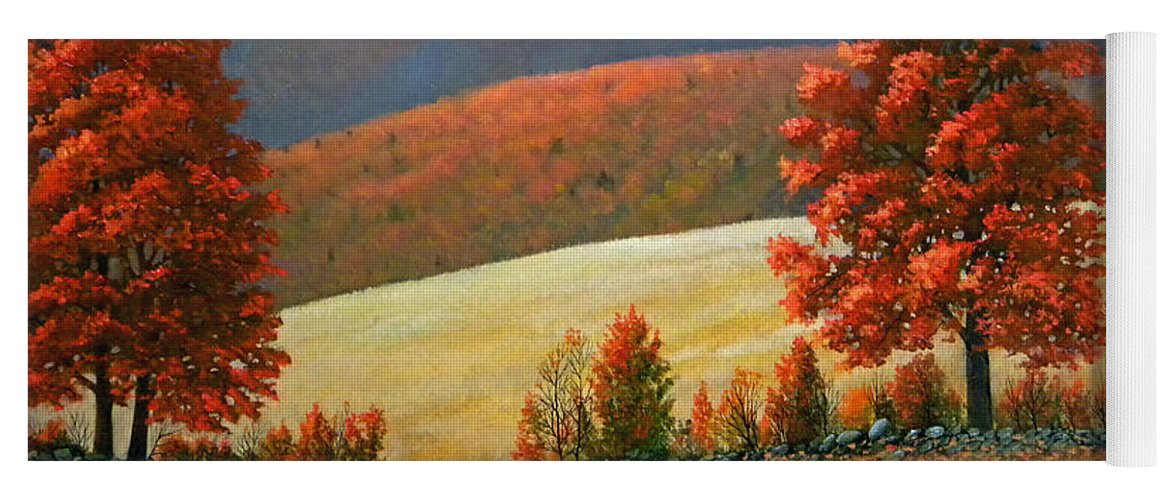 Landscape Yoga Mat featuring the painting Autumns Glory by Frank Wilson
