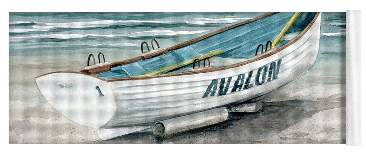 6e270a5f3e17 Lifeguard Boat Yoga Mat featuring the painting Avalon Lifeguard Boat by Nancy  Patterson