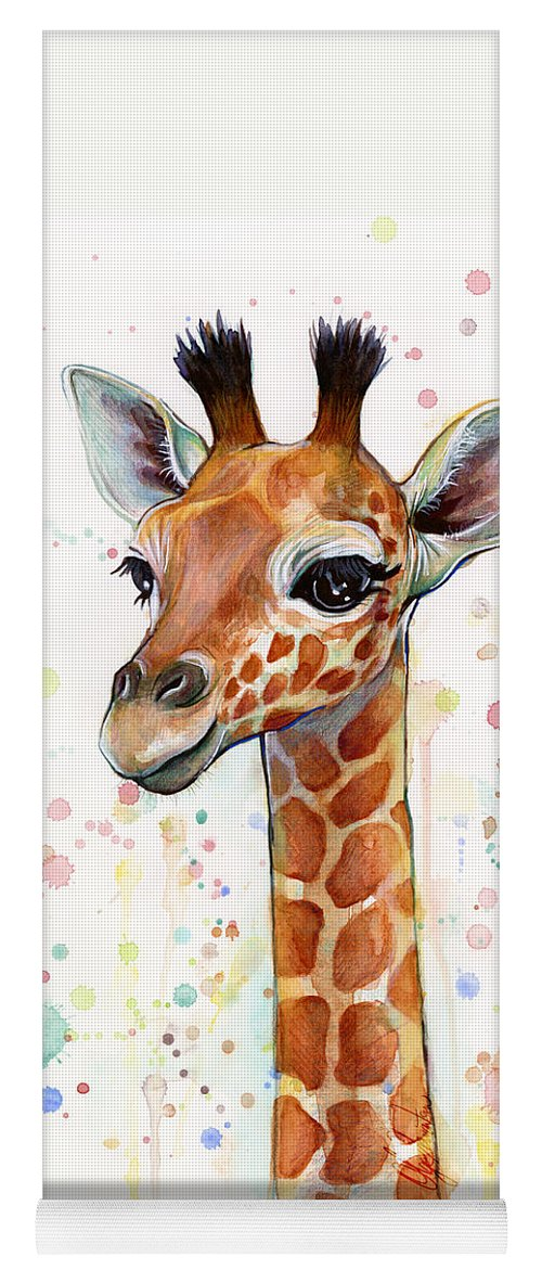 Watercolor Yoga Mat featuring the painting Baby Giraffe Watercolor by Olga Shvartsur