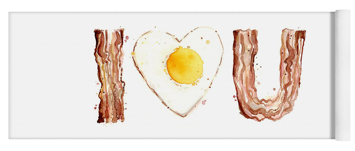 Bacon Yoga Mat featuring the painting Bacon And Egg Love by Olga Shvartsur