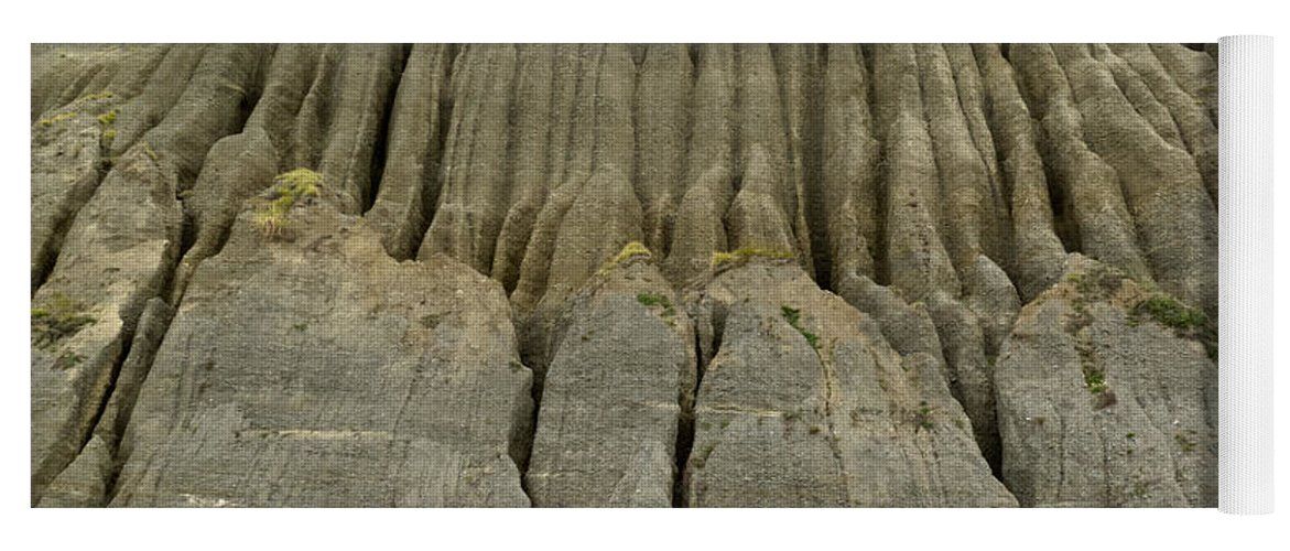 Background Yoga Mat featuring the photograph Badland Erosion Of Soft Conglomerate Sediment by Stephan Pietzko