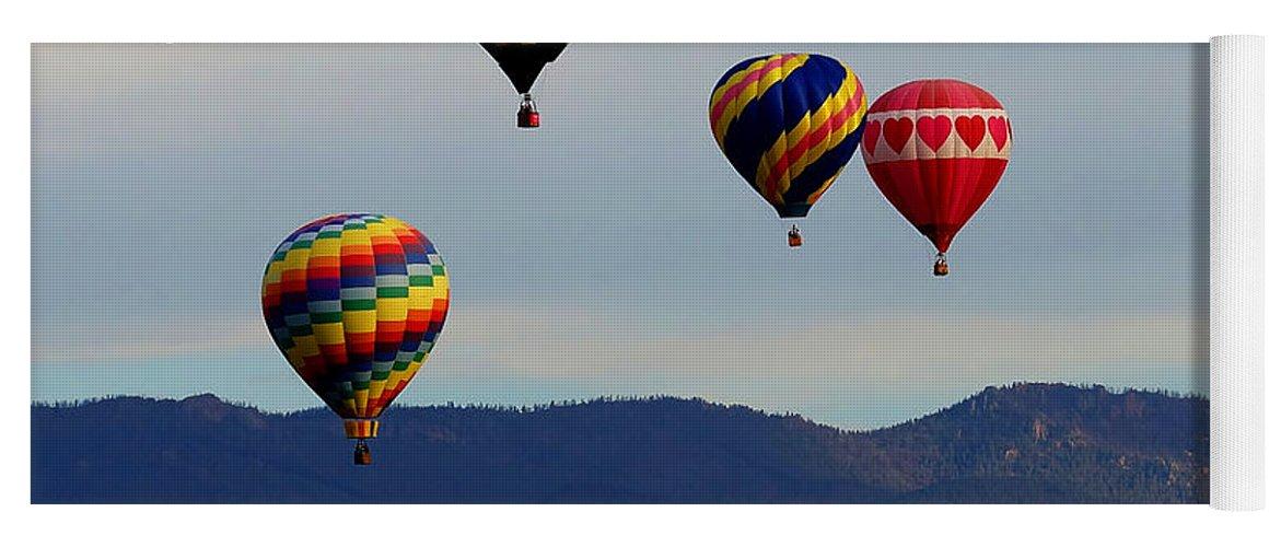 Colorado Yoga Mat featuring the photograph Balloon Rise by Ernie Echols